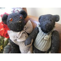 Vintage Pair of Black Handmade Teddy Bears With Their Original Knitted Outfits - Teddy Bears Gifts