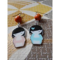 GeishaGirl  Japanese Chinese Kawaii Earrings made with Metal Geisha Kokeshi Doll Charms, Wooden Oriental Beads and Silver Plated Hooks - Oriental Gifts