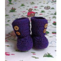 Crocheted Ugg style baby booties in gorgeous purple wool with wooden buttons. Size 612 months - Ugg Gifts