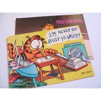 Instant collection: pair of kitsch, collectable, colourful 1980s Garfield penpal paper postcards - Garfield Gifts