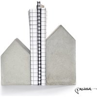 Concrete House Bookend Set, monochrome grey concrete decor, home sweet home quote art, house sculpture, house warming gift, minimal hygge - Warming Gifts