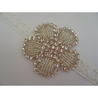 Girls Bridesmaid / Flower Girl / First Holy Communion White / Ivory Lace Headband with Stunning Diamante Applique - First Holy Communion Gifts