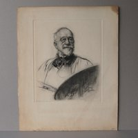 1930s Arthur L Cox engraving Mezzotint  Male portrait Bearded man Wall hanging Borough Johnson portrait Artist with palette - Artist Gifts