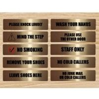 GOLD BOLD VITAL Signs for the Home of Office: Close the door, No smoking, No junk mail, Knock loudly, Remove shoes  many more - Smoking Gifts