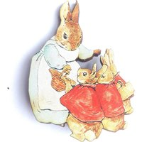 Mrs Rabbit with little rabbits Beatrix Potter Wooden Brooch Pin Birthday Gift Laser Cut Party Badges Present Unique for Bookworms - Beatrix Potter Gifts