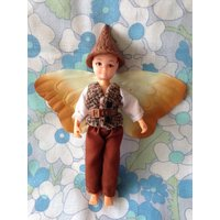 Vintage Hornby Flower Fairies 1985 Plantain Pixie Cicely Mary Barker 1980s 1983 faerie brown tweed waistcoat costume hat wings fairy doll - Hornby Gifts