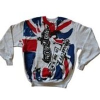 Sex Pistols Jumper  Anarchy in the UK Flag Sweater  Vintage punk clothing  Union Jack Light GreySmall 36 - Sex Pistols Gifts