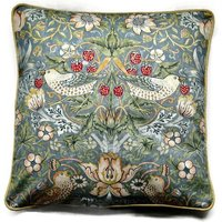 William Morris Strawberry Thief, Arts and Crafts, slate light blue, gray birds, cotton cushion cover, throw pillow cover, home decor. - Arts And Crafts Gifts