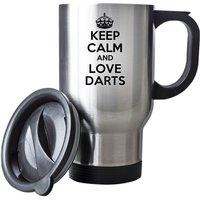 Keep Calm And Love Darts Travel Mug Thermal Stainless Steel Gift Birthday Santa Christmas Themal Gift - Darts Gifts