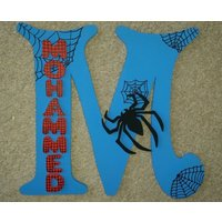 Handmade Spider Man Themed 3D Character Personalised Wall / Door Plaque Custom Made - Spider Man Gifts