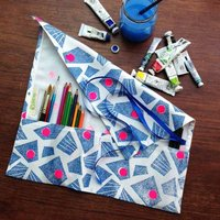 Blue  Neon accent Makeup brush, jewellery roll, Artists brush pencil, or cutlery tidy wrap roll handprinted - Cutlery Gifts