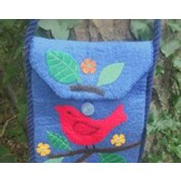 Blue felted womens shoulder messenger crossbody bag with strap and red bird, tree and flowers design, ladies teen tote, iPad gadget bag OOAK - Ipad Gifts