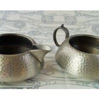 An iconically styled  1930s arts and crafts pewter cream jug and sugar basin. Made by Civic. - Arts And Crafts Gifts