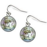 Mrs TIGGYWINKLE Beatrix Potter  Glass Picture Earrings  Silver Plated (Art Print C22) - Beatrix Potter Gifts