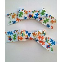 Handmade set of 2 Autism Awareness Jigsaw print single bow hair Alligator clips. Ideal Childrens gift. - Jigsaw Gifts