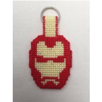 Plastic canvas, doublesided, cross stitch Iron Man keyring - Iron Man Gifts