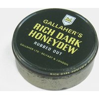 Vintage Gallahers Rich Dark Honeydew Tobacco Tin  dark green yellow white gold cigarette box smoking metal old mid century London British - Smoking Gifts