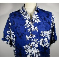 80s Vintage Mens Blue  White Hawaiian Shirt LARGE 44 Chest (4244) Retro Floral Print Quality Vintage Menswear - Floral Gifts