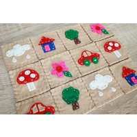Felt Memory Matching Game Cards Natural and Eco Friendly Handmade Educational Toy - Educational Gifts