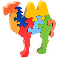 Colourful Big Camel Wooden Handcrafted Jigsaw Puzzle Toy, Educational, Learning Montessori 3D Animal Puzzle - Jigsaw Gifts