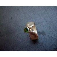 Minimalistic,gold silver, organic, earthy, matte ring, engagement, wedding ring, boho, green tourmaline, hipster, hippie  artist Viridian - Artist Gifts