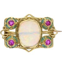 Arts and Crafts Opal Ruby and Enamel Booch - Arts And Crafts Gifts