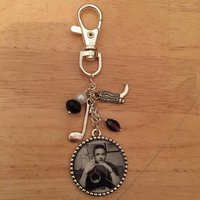 Johnny Cash Inspired Keyring / Keychain / Bag Charm.  Handmade, Unique (FREE or LOW COST shipping) - Johnny Cash Gifts