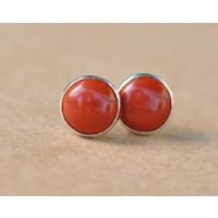 Jasper earrings handmade with Sterling Silver studs in Orange Red, 8 mm natural cabochon gemstones in silver settings, gift, birthday - Handmade Gifts