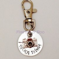 Customised handstamped keyring, personalised keychain, camera keychain, photography related, gift for him, shooting gift, custom  bag charm - Shooting Gifts