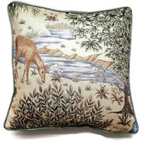 William Morris The Brook , Arts and Crafts, beige, blue and green, woodland deer linen cushion, throw pillow home decor 18 x 18 ins. - Arts And Crafts Gifts