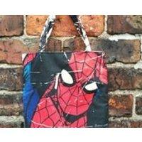 Mini Marvel tote bag  Spider Man Swinging, comic book, book bag, superhero, shoe bag - Spider Man Gifts