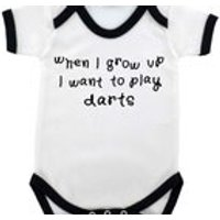 When I grow up I want to play darts contrast trim Babygrow  4 colours  3 sizes available - Darts Gifts