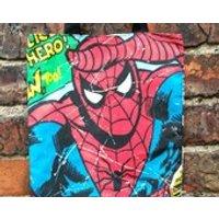 Mini Marvel tote  Spider Man Jumping, superhero, comic book, book bag, shoe bag - Spider Man Gifts