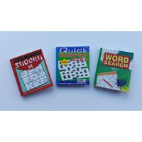 Handmade dolls house miniature accessory puzzle books set of 3 sudoku wordsearch and crossword - Sudoku Gifts