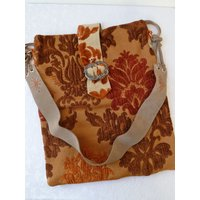 Handmade Hippie Shoulder Bag, Boho, Original  Unique Design, Upcycled, Damask, Real Suede Hippie Fringed Belt Strap - Shoulder Bag Gifts
