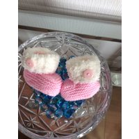Hand Knitted Pink Baby Booties Ugg Style - Ugg Gifts