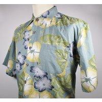80s Vintage Mens Blue  Green Hawaiian Shirt XL 48 Chest (4648) Retro Floral / Palm Leaf  Print Quality Vintage Menswear - Floral Gifts