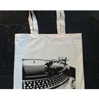 vinyl record, record player, turntable, Dj deck, old school  Screen printed cotton tote bag - Dj Gifts