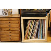 Custom Order  Chunky Funky hand made reclaimed pine record vinyl storage cube - Custom Gifts