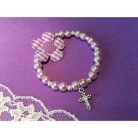 First Holy Communion Bracelet, Baptism Gift, Christening Gift, Bridesmaid Bracelet, Childs Bracelet, Little Girls Bracelet with Cross Charm - First Holy Communion Gifts
