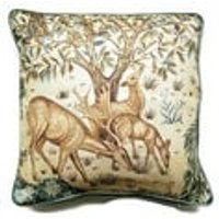 William Morris The Brook , Arts and Crafts, beige, blue and green, woodland deer linen cushion, throw pillow home decor 18 x 18 inches. - Arts And Crafts Gifts