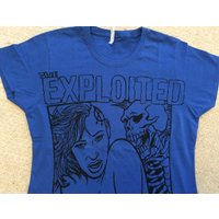 The Exploited  Punk Tshirt  Skeleton Sex  Mature Adult  Blue Tee Small 3436  fitted - Sex Gifts