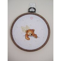 Guardian Angel Teddy Bear Cross stitch picture in frame. Hand stitched. New Baby, God Parent, Baptism, Christening, Holy Communion Gift - First Holy Communion Gifts