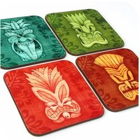 Tiki Coasters, set of four  Tiki Gift  Tiki Bar Accessories  Hawaiian Style coasters  Tiki Home Decor  Tiki masks  Tropical Coasters - Hawaiian Gifts
