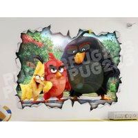 Angry Birds 3D Look Wall Vinyl Sticker Poster  Disney Pixar Bed Room Mural - Angry Birds Gifts