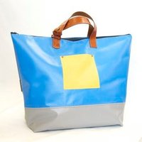 UK Made Upcycled Bouncy Castle Blue Yellow  Grey PVC  Leather Weekend Holdall / Overnight Bag - Bouncy Gifts