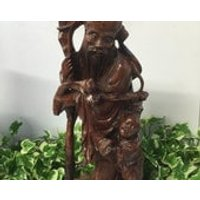 19th Century Boxwood Oriental Chinese Root Carving Of A Bearded Man  Child - Oriental Gifts