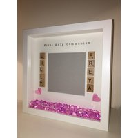 Personalised Photo Frame, On your christening holy communion  pretty pink hearts  crystals, made with love and scrabble, personalized - First Holy Communion Gifts