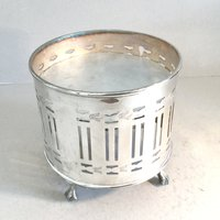 Silver plated plate warmer, Food heater, Teapot stand, Table warming tray stand, Hot plate, Drum shape, Ball and claw feet - Warming Gifts