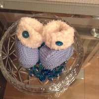Hand knitted Blue Baby Booties Ugg Style - Ugg Gifts